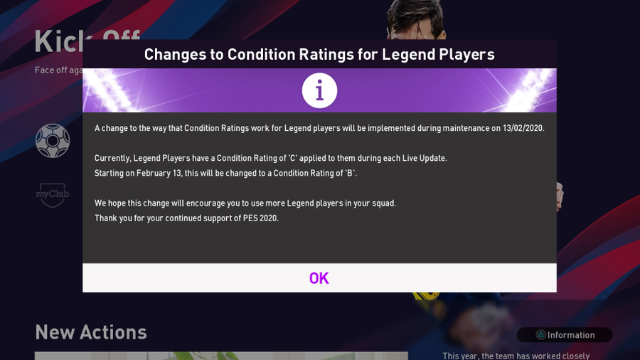 Condition Ratings update for Legends in PES 2020