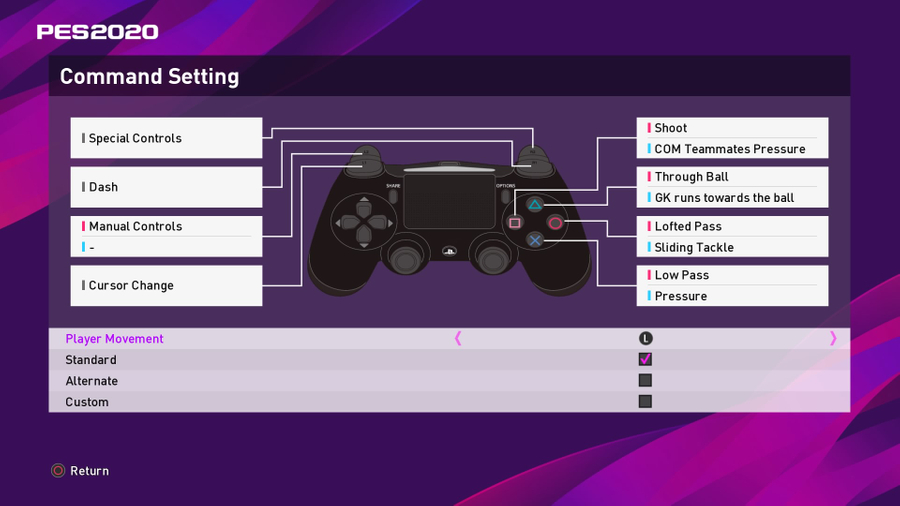 PES 2020 Command Setting set to Standard